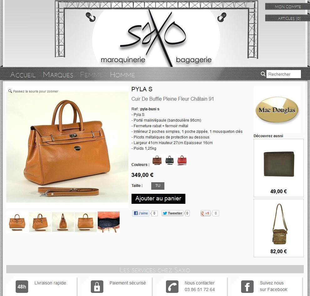 fiche article maroquinerie e-commerce