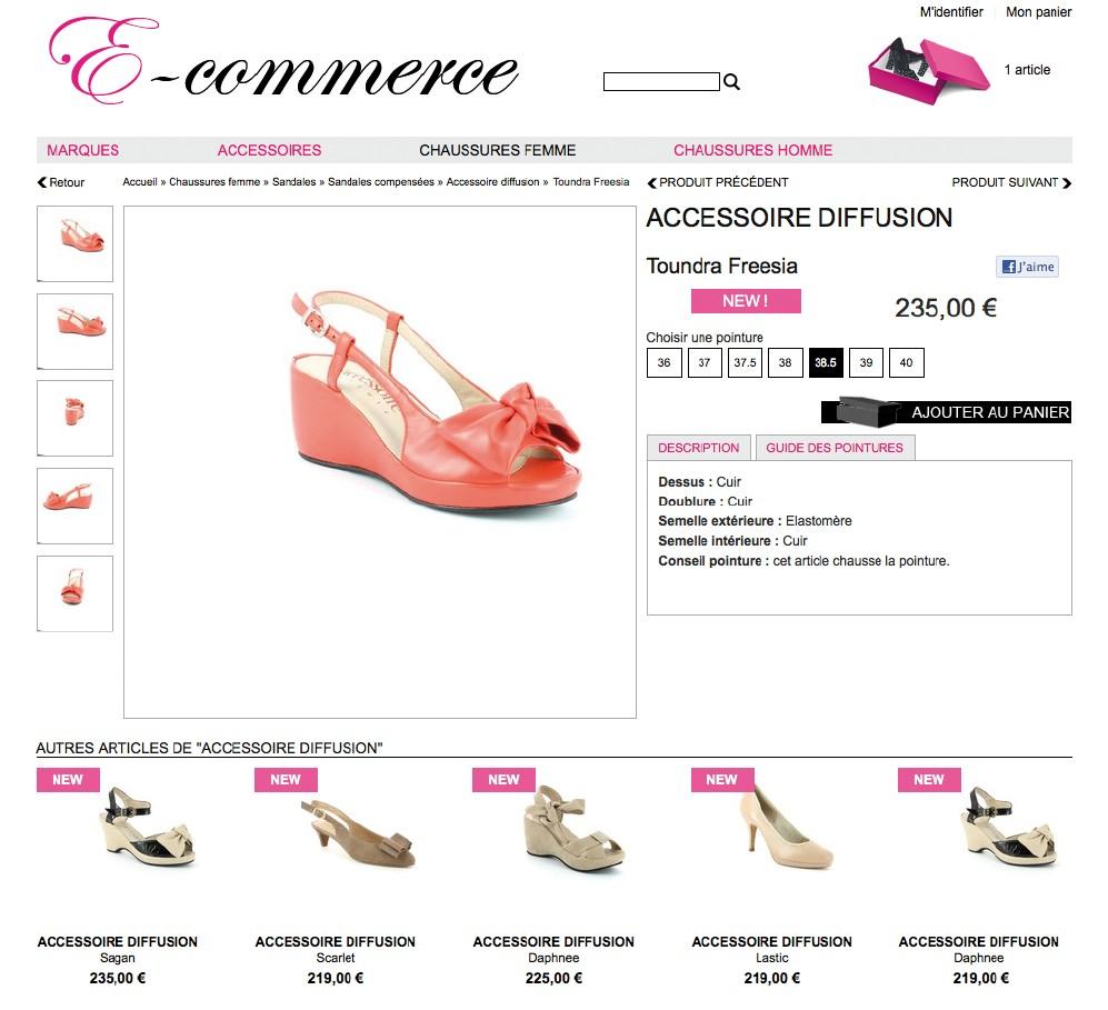 fiche article chaussure site e-commerce