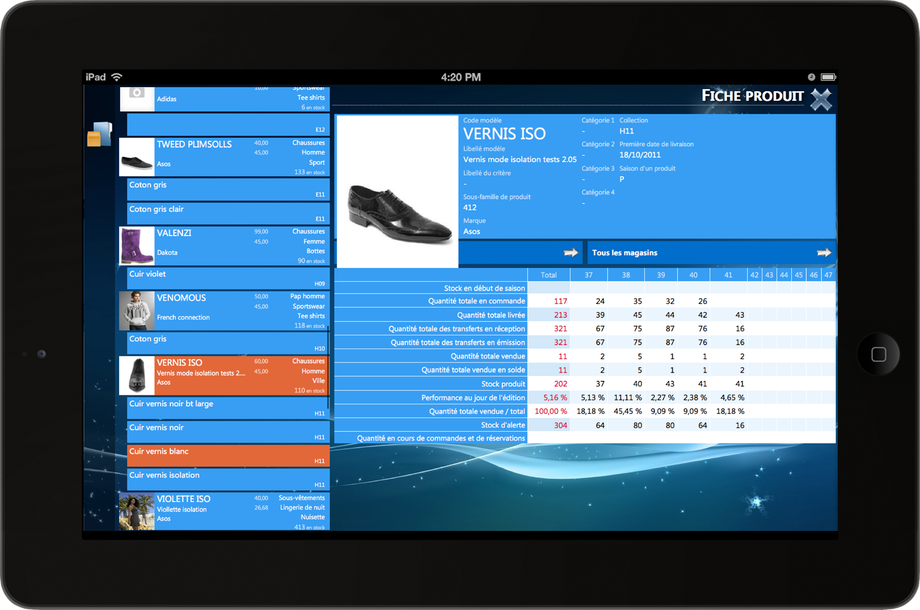 application ipad gestion magasin
