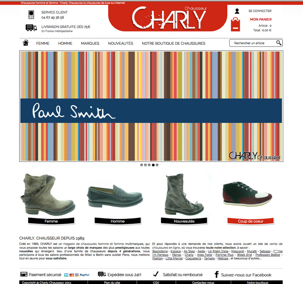 page d'accueil du site Charly Chaussures