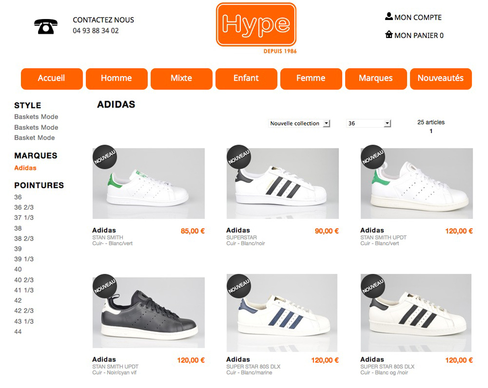 Page catalogue hype-shoes