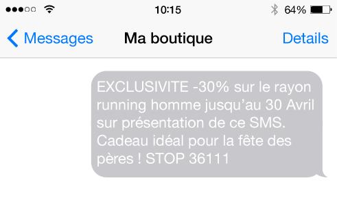 envoi sms boutique client