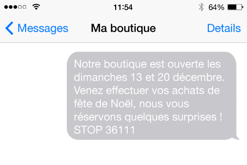 envoi sms client magasin